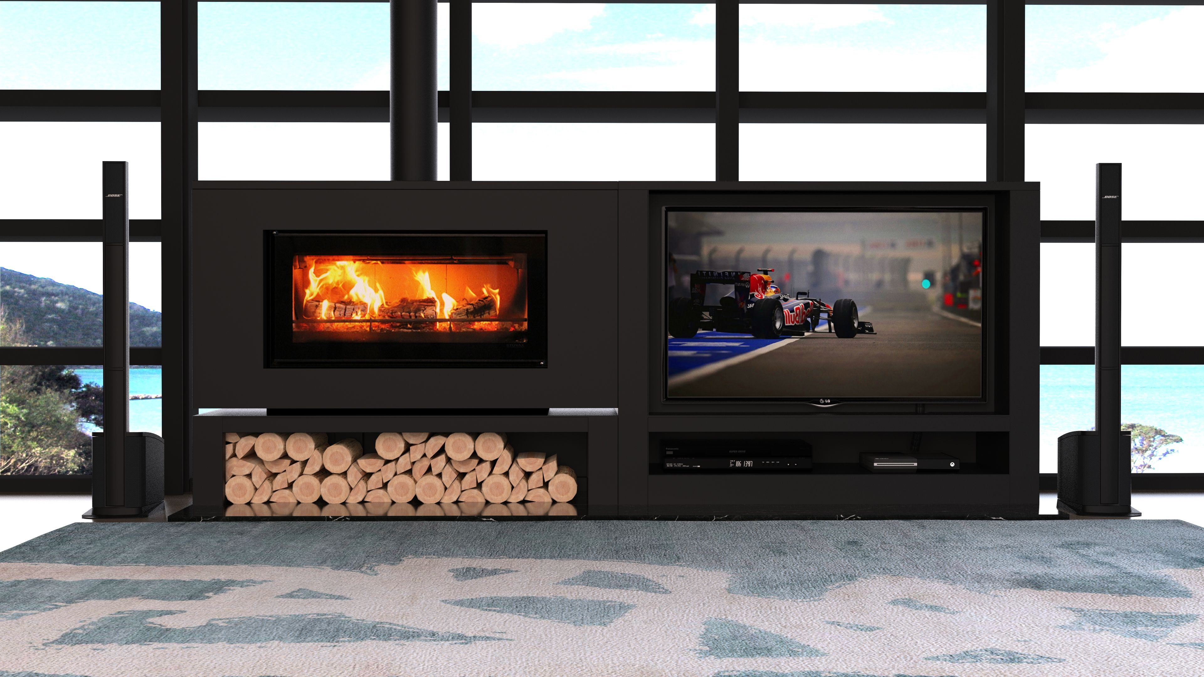 The Fireplace Introduces New Side By Side Tv And Fireplace Cabinet