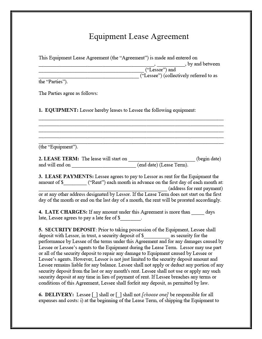 Download Equipment Lease Agreement 01 Lease Agreement Rental Agreement Templates Contract Template