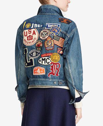 8a5ea00c Polo Ralph Lauren Varsity Patchwork Denim Jacket | macys.com | DIY ...