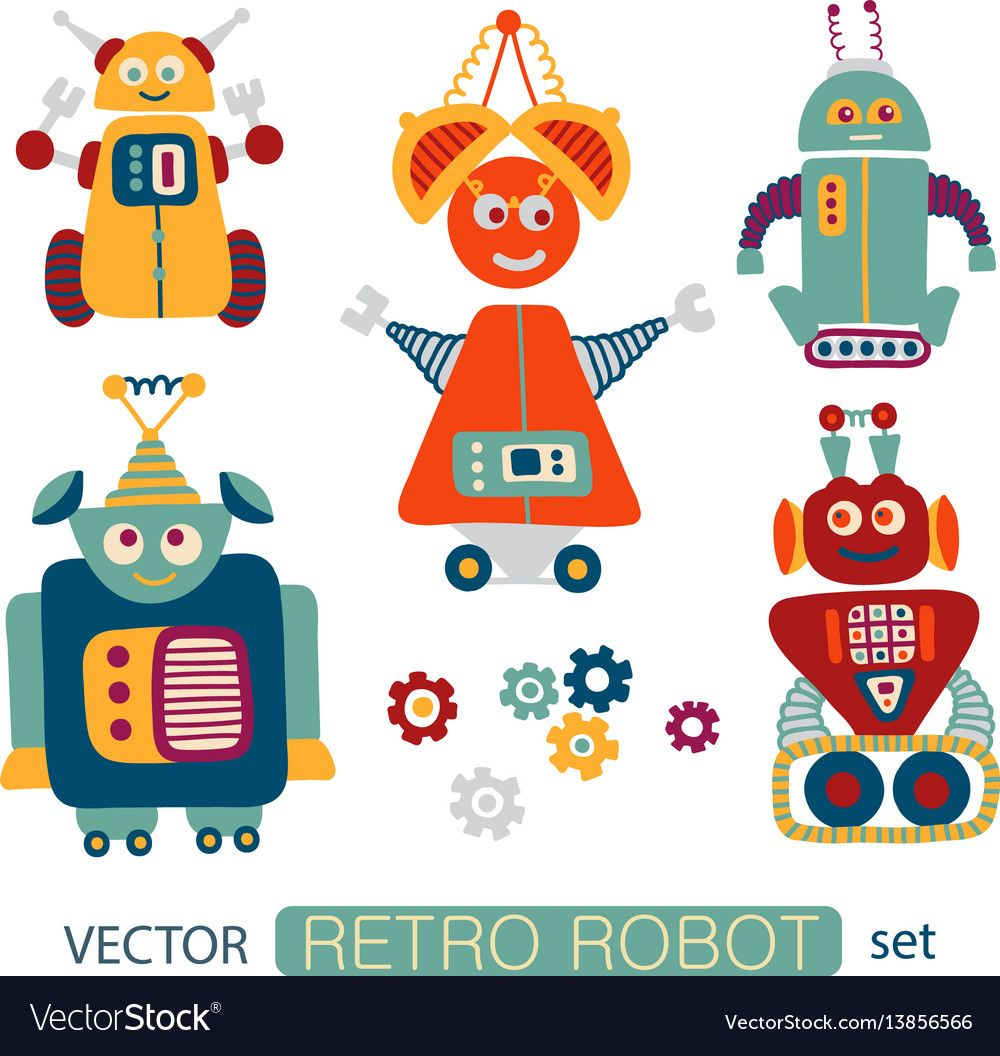 Colorful Vector Clipart Set With Cute Retro Robots Download A Free Preview Or High Quality Adobe Illustrator Ai Eps Pdf And High Retro Robot Clip Art Retro