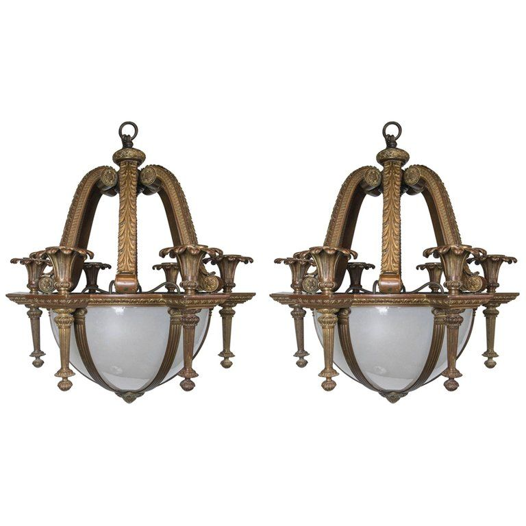 Pair Of Neoclassic Style Caldwell Chandeliers With Opaline Glass Panels Inset From A Un Chandeliers And Pendants Vintage Chandelier Chandelier Pendant Lights