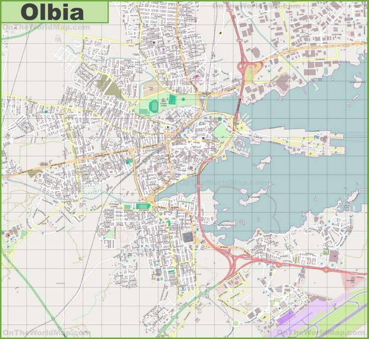 Large detailed map of Olbia Maps Pinterest