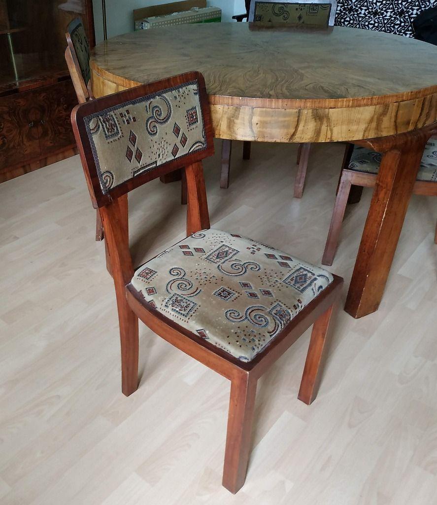 Licytacja Stol Okragly I Krzesla Art Deco Stare Krzeslo Tarnow Allegro Lokalnie Decor Chair Dining Chairs