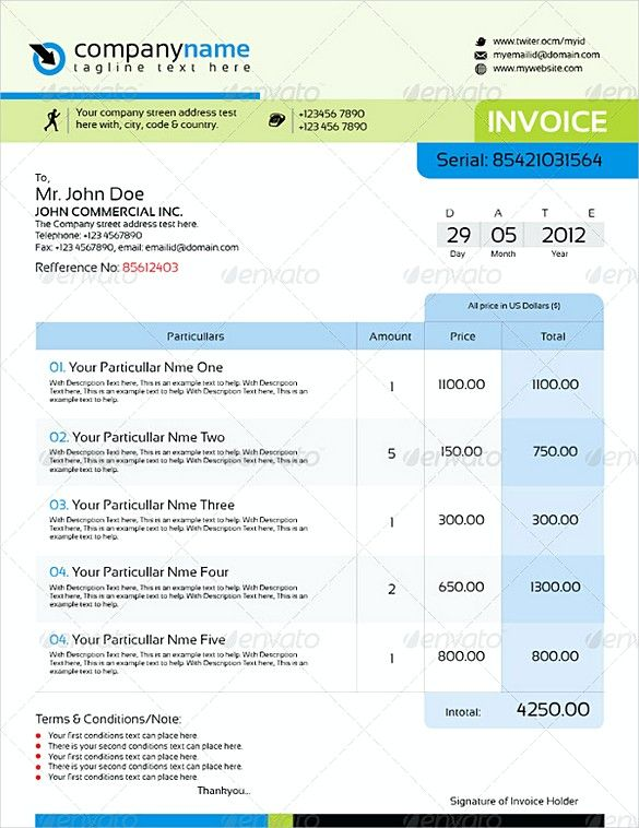 Professional Indesign Invoice Templates Indesign Invoice Template
