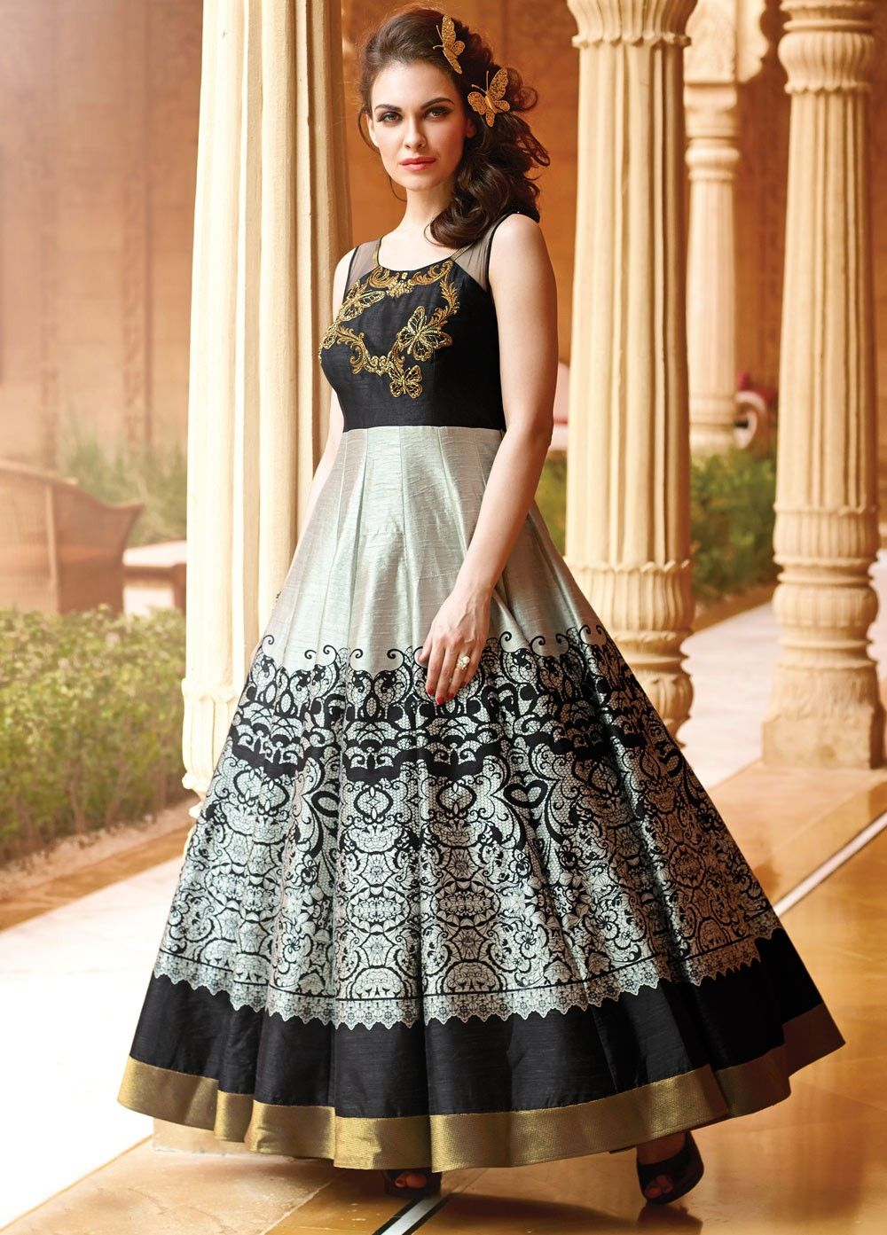 Embroidery and Digital Print Long Gown | Long Gown Dress | Pinterest ...