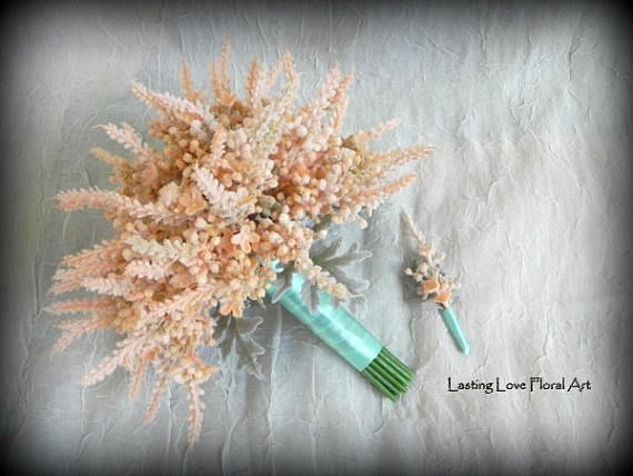 Wedding Bouquet, Peach Wedding Bouquet, Astilbe Bouquet, Astilbe, Aqua Blue Wedding, Peach Wedding, Real Touch Bouquet, Groom Boutonniere