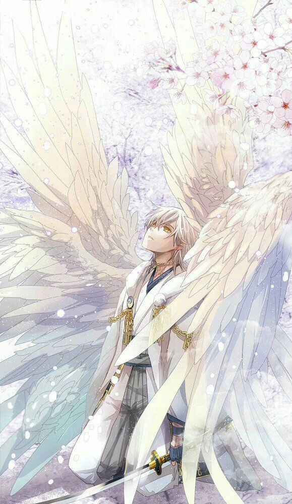 anime boy angel wings white anime guys anime guys