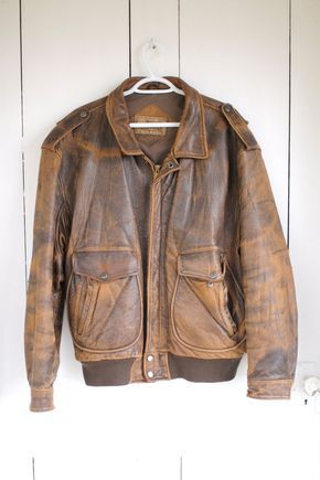 f9ca8711b Calvin Klein - vintage beat up brown leather coat   Bomber jackets ...