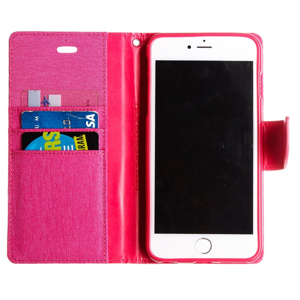 Apple Iphone 6 Plus Mercury Goospery Canvas Diary Denim Leather Samsung Galaxy S6 Case Wallet Pink