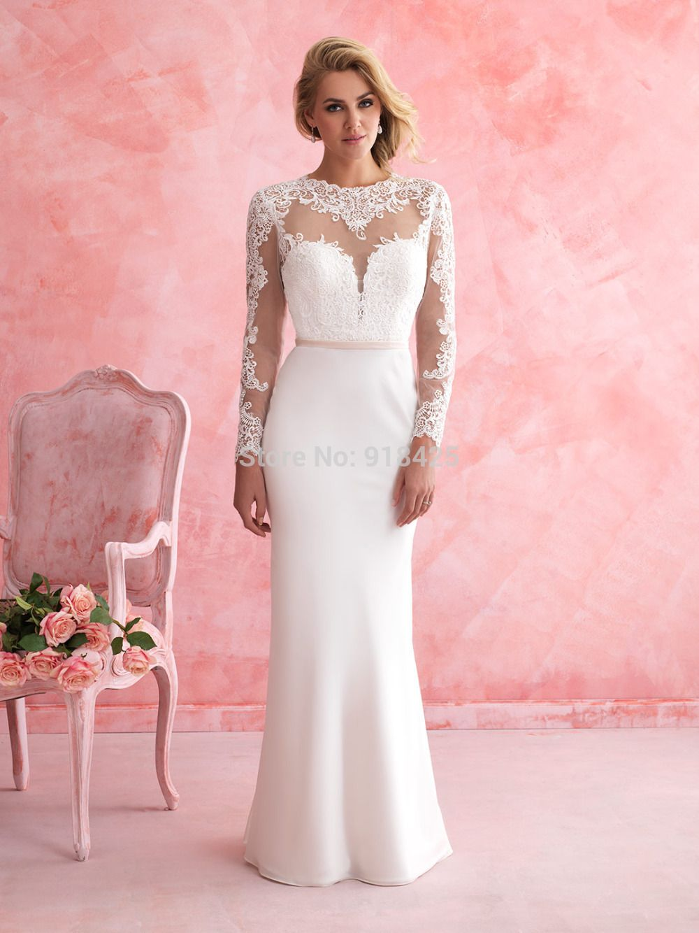 Long wedding reception dresses for the bride  Click to Buy ucuc New Fashion High Neck Sheath Long Sleeves Bridal