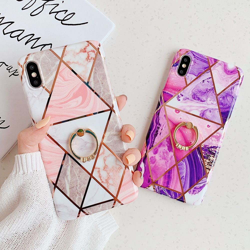 Free shipping geometric marble texture phone cases for