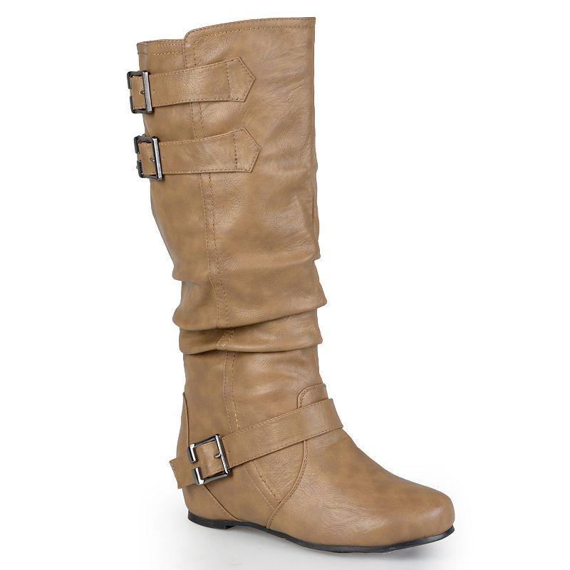 Journee Collection Tiffany Women's Slouch Boots, Girl's, Size: medium (7.5), Beig/Green (Beig/Khaki)