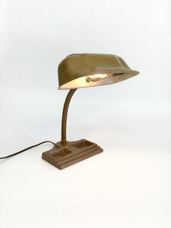 Antique Desk Lamp antique desk lamp, bankers desk lamp, industrial lamp, gooseneck