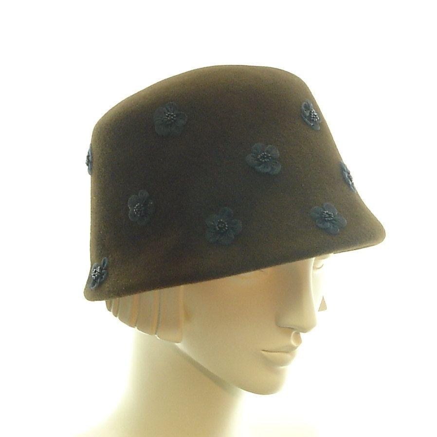Felt Bucket Hat for Women - Handmade Cloche Hat - Brown ...