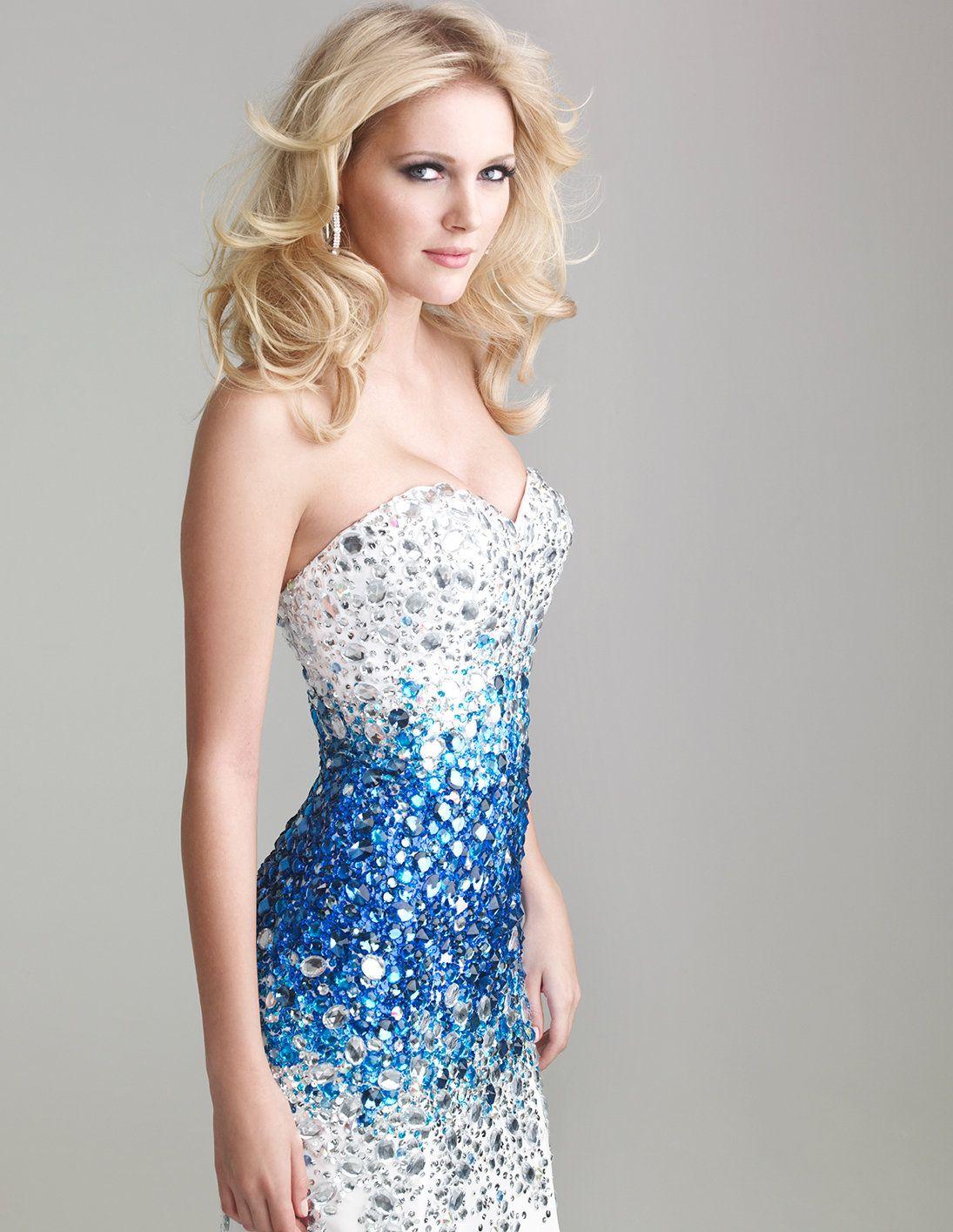 White u blue ombre beaded chiffon strapless sweetheart prom dress