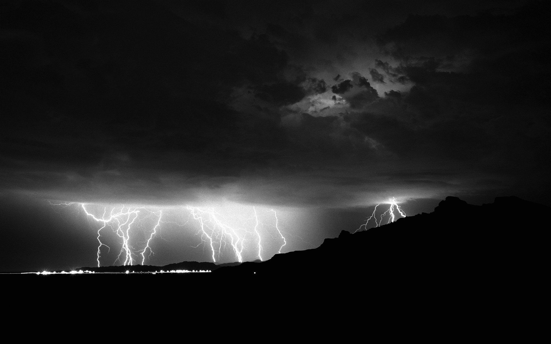 Wallpaper Black And White Storm Lightning Weather Black And