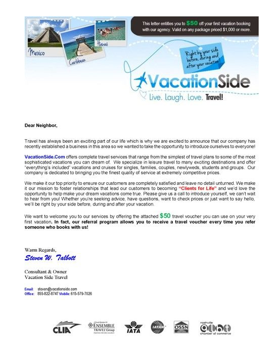 Vacation Side Travel Welcome Letter | Welcome letters ...