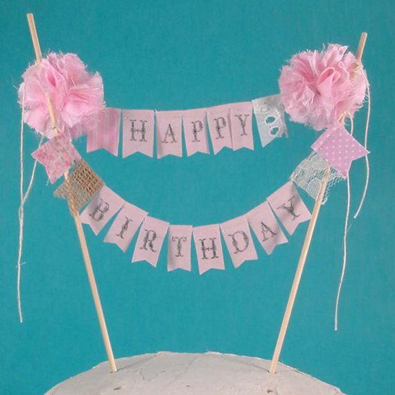 Shabby Chic Cake Banner Pink Happy Birthday By Hartranftdesign