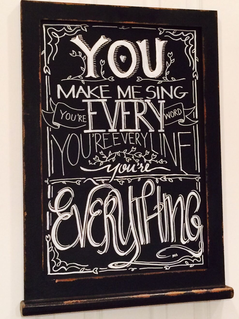 A Few Lines From Our Wedding Song On Chalkboard Michael Buble