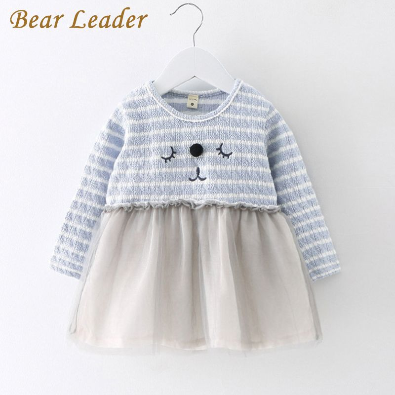 Baby   Casual Baby Girl Clothes Long-sleeve Striped Cartoon Kitten Embroidery Design Kids Dresses