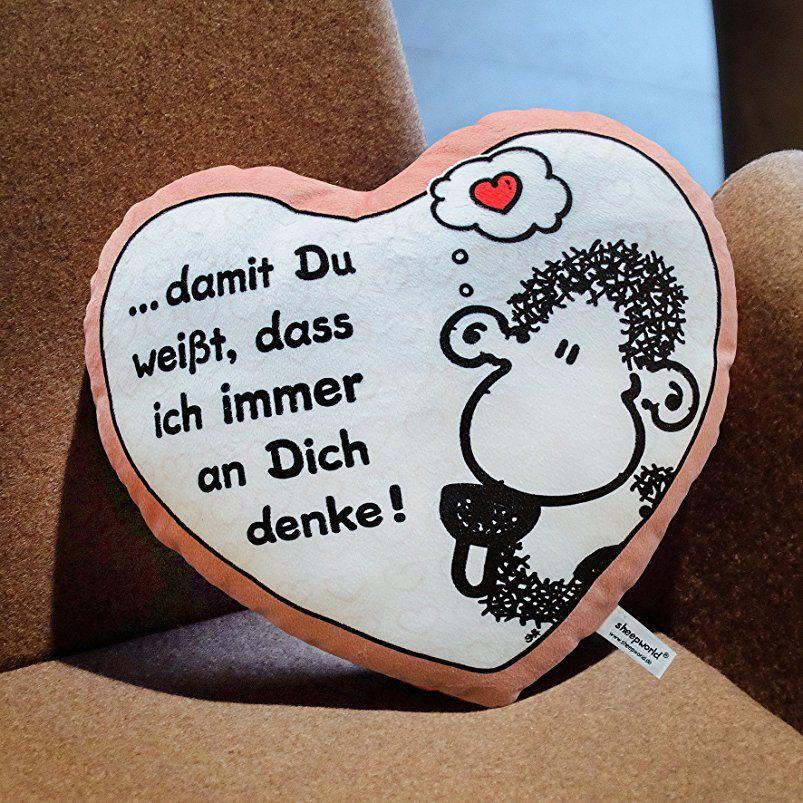 """Sheepworld 42693 Plüschkissen in Herzform """"… damit Du"""