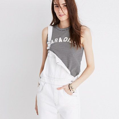 For a more casual look, pair a graphic tee with white overalls. Let Daily Dress Me help you find the perfect outfit for whatever the weather! dailydressme.com/
