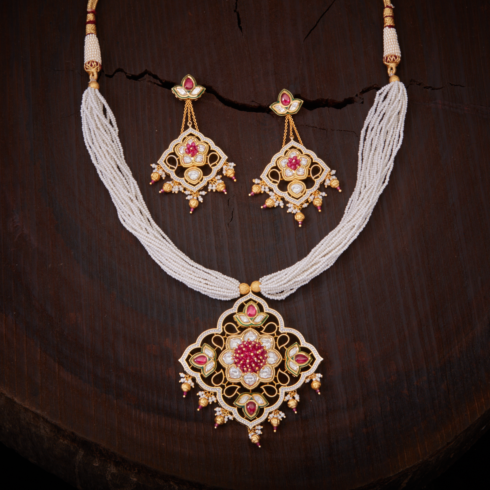 0ca119658b57c Stunning Design Zircon & Kundan Work Necklace studded with Ruby ...