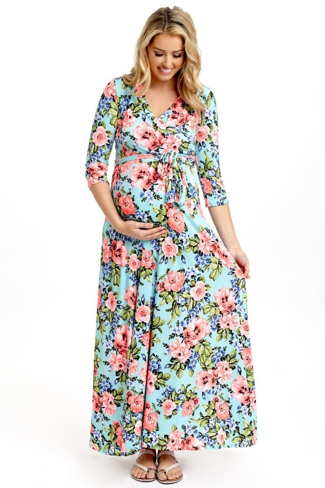 271709166e This multi-color floral maxi dress is the ultimate summer essential for a  comfortable everyday wear. Aqua-Neon-Floral-Draped-3 4-Sleeve-Maternity-Maxi -Dress