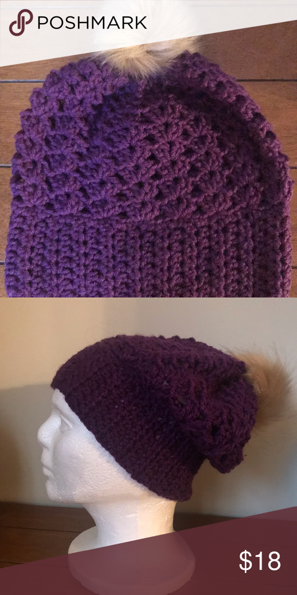 170300e228d Women s slouchy beanie hat with faux fur Pom Pom NWT handmade purple  crochet hat with faux fur Pom Pom Handmade Accessories Hats