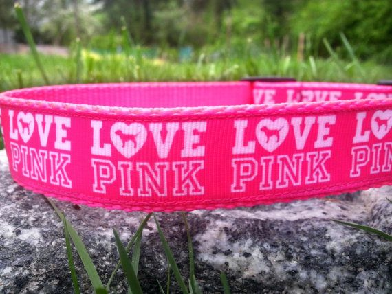Love Pink 1 Inch Width Dog Collar by WillyWoofs on Etsy, $18.00