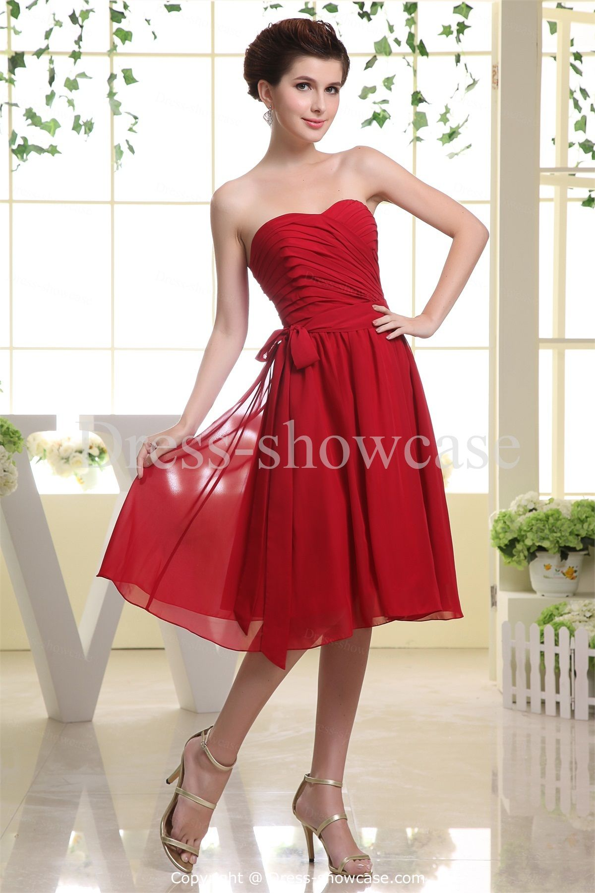 Red knee length chiffon ruffles sweetheart bridesmaid dress red chiffon sweetheart petite knee length bridesmaid dress with detachable belt wedding events wedding party dresses bridesmaid dresses k ombrellifo Image collections