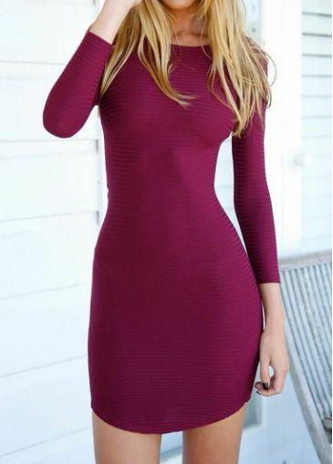 Cutout Back Purplish Red Bodycon Mini Dress - USD $21.28
