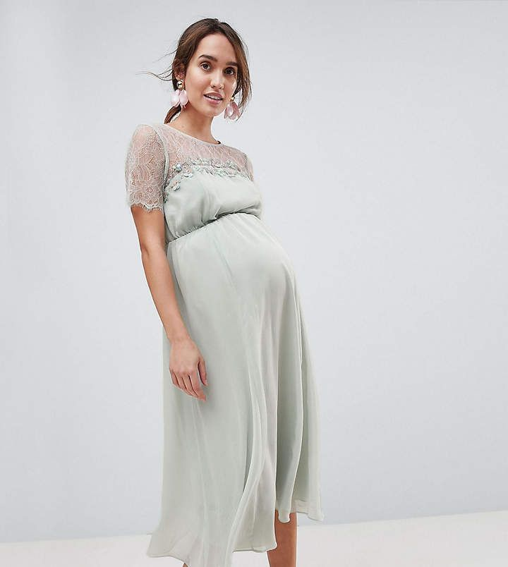 Asos Maternity Lace Insert Midi Dress With Floral