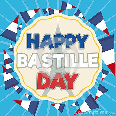 Greeting label commemorating bastille day with eiffel tower greeting label commemorating bastille day with eiffel tower silhouette inside with french tricolour pennants around it m4hsunfo