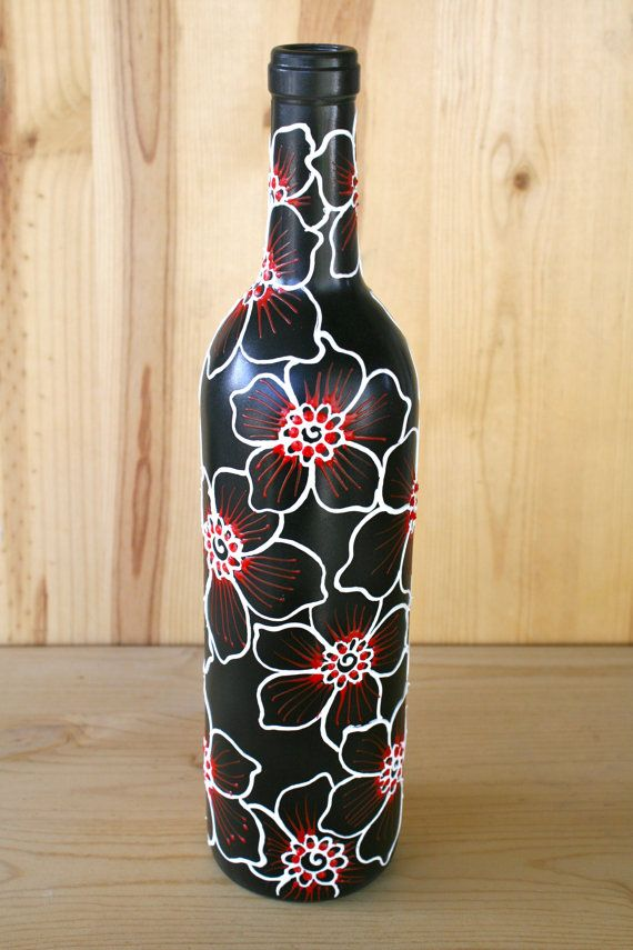 Decorative Wine Bottles For Sale Captivating Summer Sale Hand Painted Wine Bottle Vase Black With От Lucentjane Design Decoration