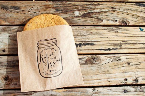 Wedding Favor Cookie Bag  - Ball Jar - Country Favor Bag - 25 Bags on Etsy, $22.50