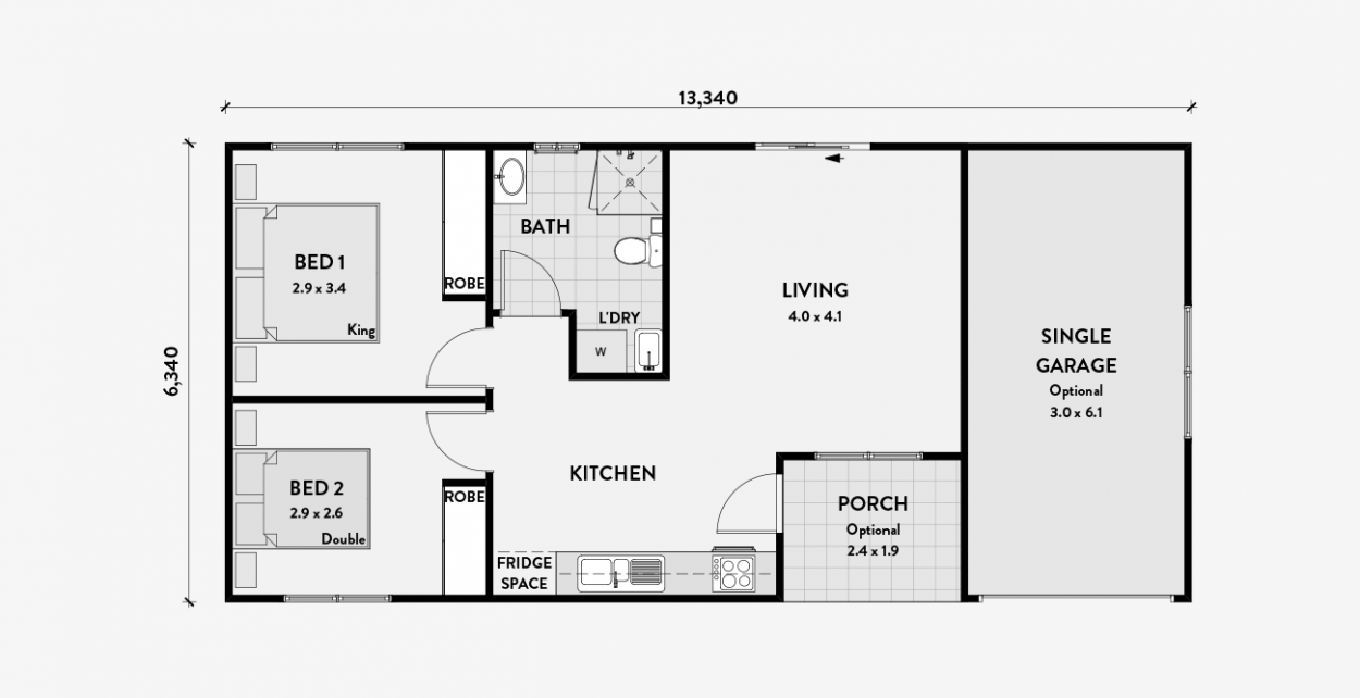 Bamksia 2 Bedroom 60m2 Garage Granny Flat Plans Floor Plans Granny Flat