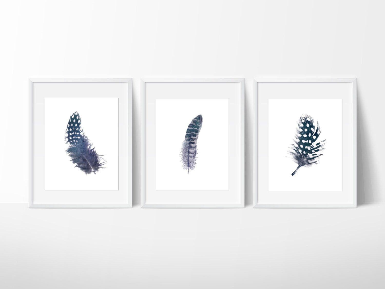 Feather Wall Art set of 3 indigo feather prints / navy feather print / feather wall