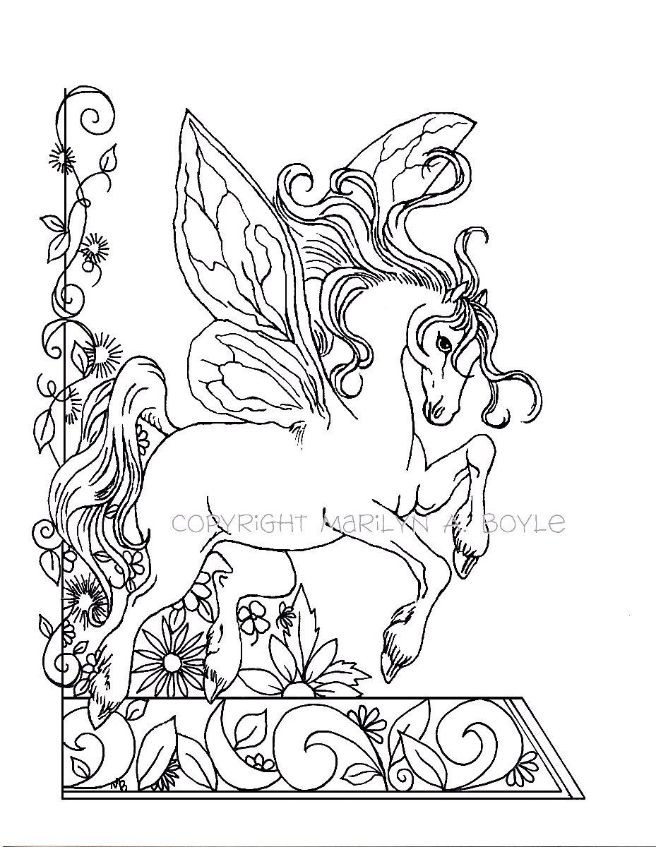 coloring page fantasy fairy horse flowers garden nature