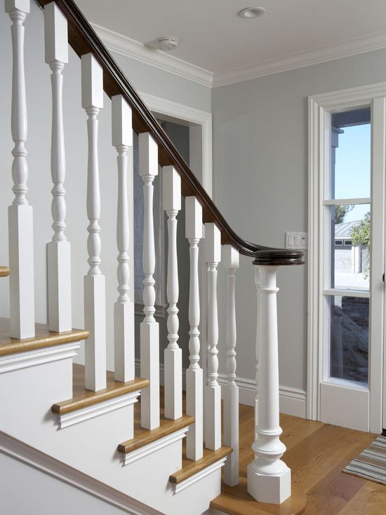 Best Traditional Spaces White Stair Railing Design Pictures 400 x 300