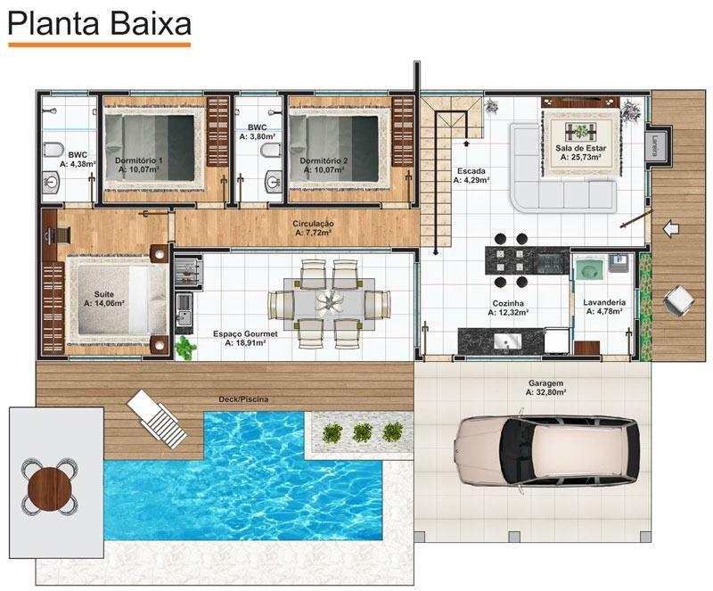 Casas com piscinas 60 modelos projetos e fotos planos for Modelos de piscinas fotos