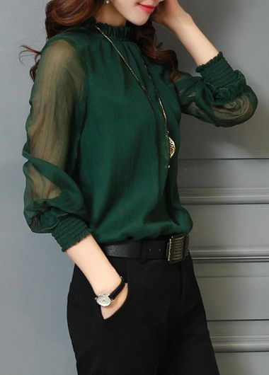 db5a1e0211cee4 Deep Green Lantern Sleeve High Neck Blouse on sale only US$24.95 now, buy  cheap Deep Green Lantern Sleeve High Neck Blouse at liligal.com