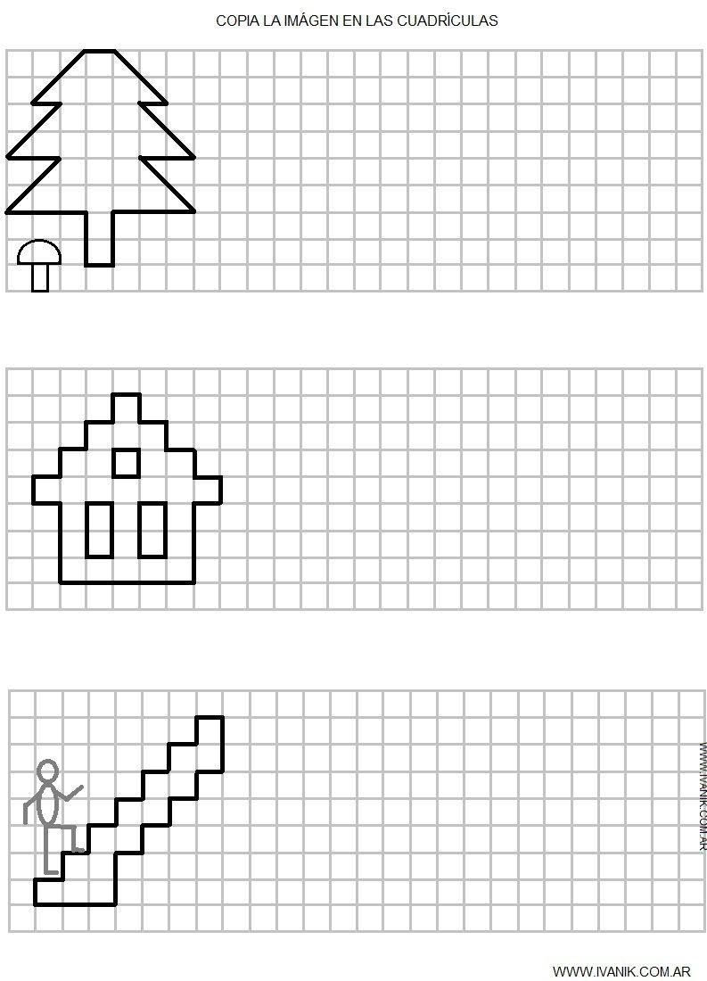 Para que los niños practiquen la Simetría Cuadricula Grafomotricidad Ejercicios de escritura