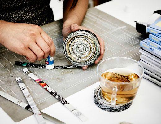 Bandelettes de catalogue ikea coll es ensemble pour former un sous verre rond - Sous verre photo ikea ...