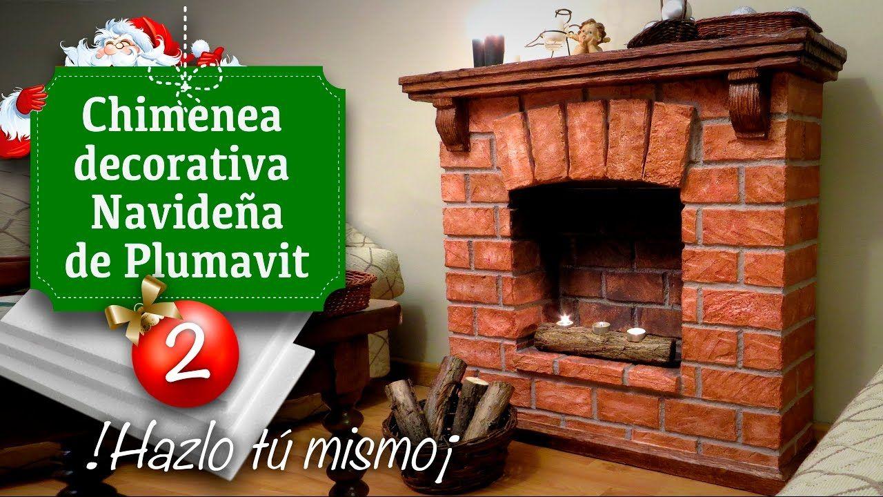 Decoraci n de navidad chimenea falsa de plumavit - Hacer chimenea decorativa ...
