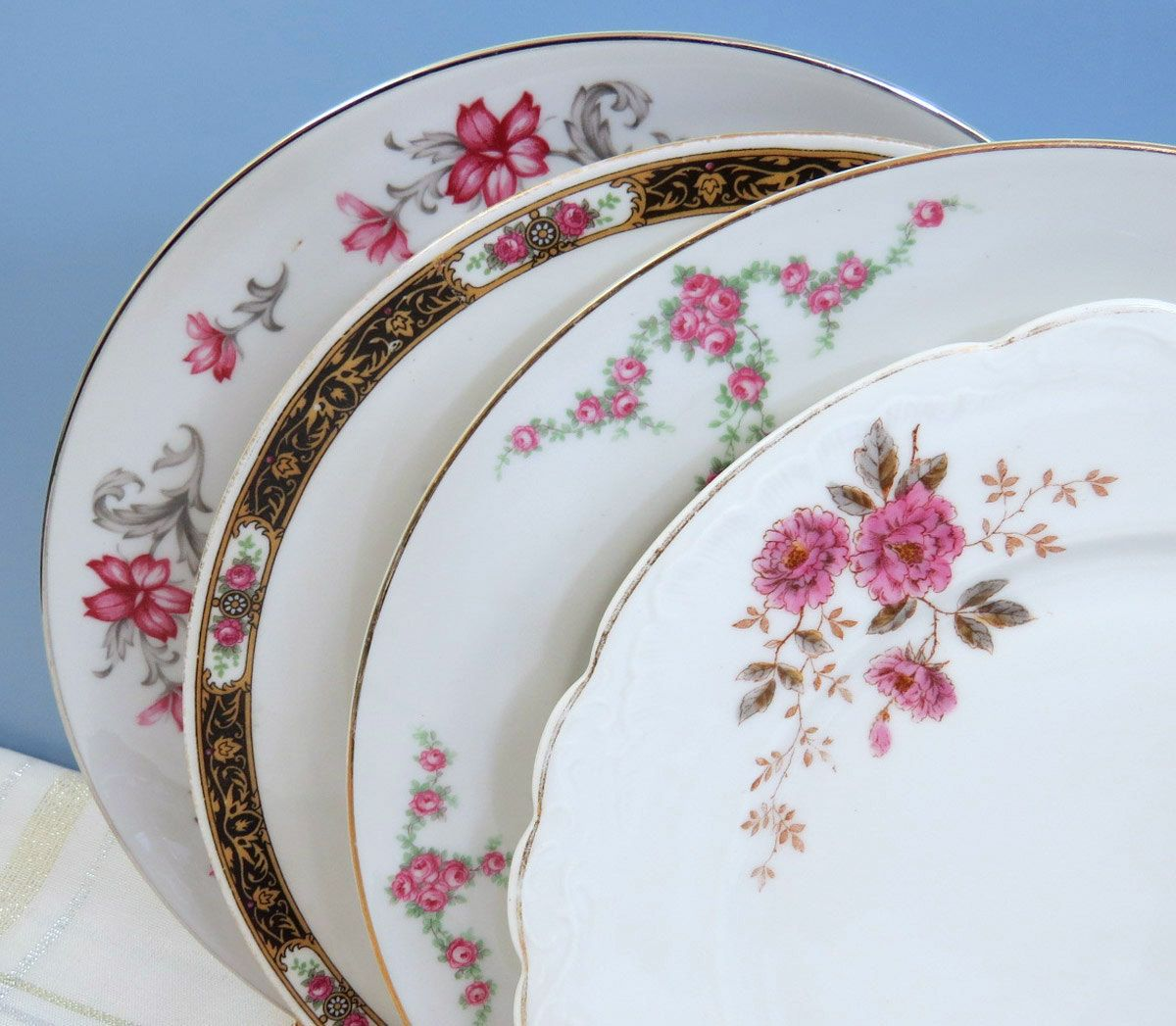"""Set of 4 Mismatched China Plates, 10"""" Dinner Plates, Mix and Match for Vintage Wedding or Tea Party, Pretty Soft Pastels DP32 by GoldenVineDesigns on Etsy"""