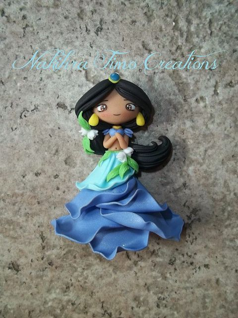 Jasmine flower dress polymer clay