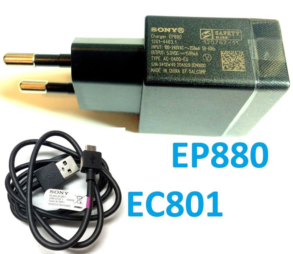 Original Sony EP880 USB Quick Charger EU Plug+EC801 Charge Data Cable for Xperia #Sony