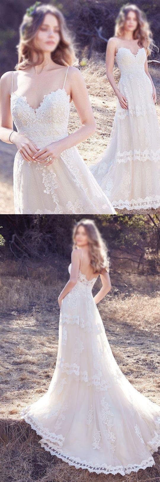 Chic long wedding dress simple modest elegant lace a line cheap
