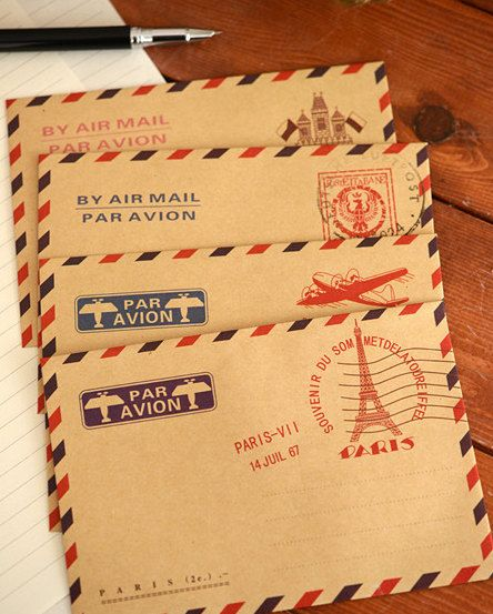 Mini Letter envelope -Vintage par avion air mail letter envelope LOMO paper envelope for wedding,scrapbooking  inviting letter -20 piece in on Etsy, $3.36